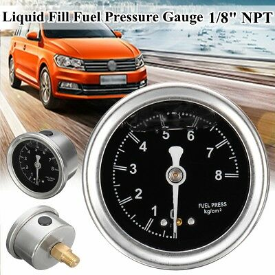 Car AUTO Fuel Pressure Regulator 1/8'' NPT 0-8Kg /Cm² Liquid Fill Oil Gauge
