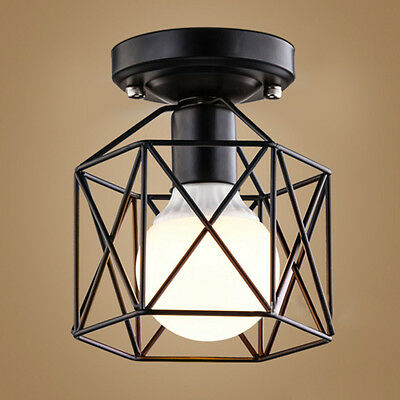 Iron Metal Industrial Cage Ceiling Pendant Lamp Light Shade Lightshade Easy Fit
