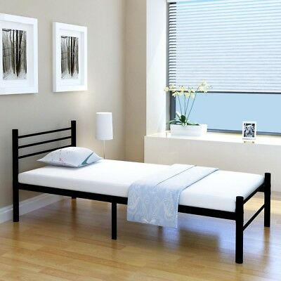 s metallbett einzelbett jugendbett bettgestell matratze metall schwarz 90x200 eur 102 99. Black Bedroom Furniture Sets. Home Design Ideas