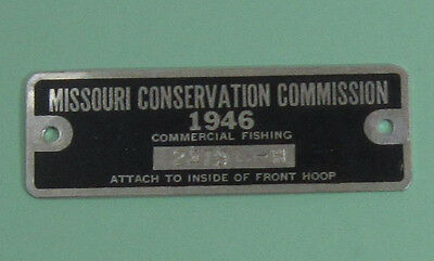 1946 Missouri Commercial Fishing License Hoop Net Permit Tag...Free Shipping!