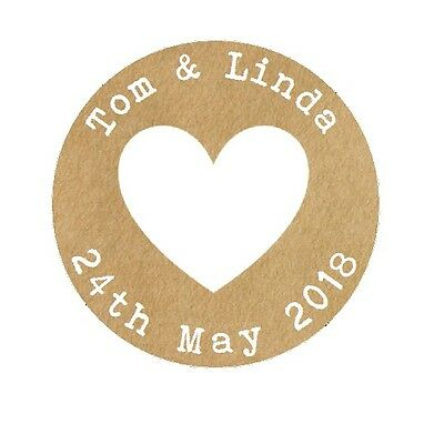 105 x HEART Personalised Wedding Shabby Brown Kraft Effect Favour Stickers