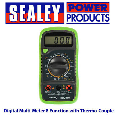 Sealey MM20HV Digital Multi-meter 8 Function with Thermo-couple Hi-Vis Model BN