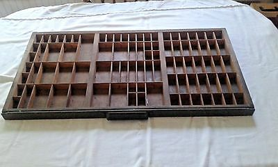 Antique Type Tray HAMILTON Printers' Drawer 82 Sections Shadow Box Metal Handle