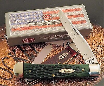 Case Trapper Knife 1982 Issue Jigged Green Bone Handles G6154 SS Great 1 2 Carry