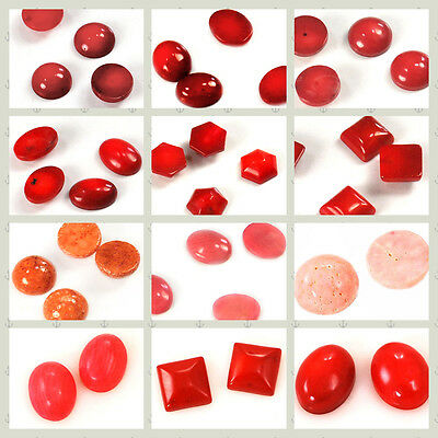 Red/Pink/Orange Coral Oval/Square/Half Round/Hexagon/Sponge Cabochon,pick style