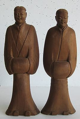 Fine Old Japanese Carved Wood Man & Woman Husband & Wife Figurines