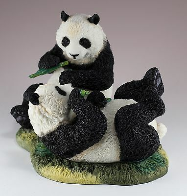 """Panda Cubs Eating Bamboo Figurine 7"""" Long Highly Detailed Polystone New In Box!"""