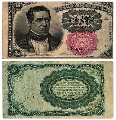 1874-76 10 CENT U.S Fractional Note 5th Issue WILLIAM MEREDITH Fr#1266 FINE