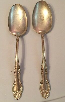 Vintage W A Williams Silver Plated Tablespoon Serving Spoons Set Of 2