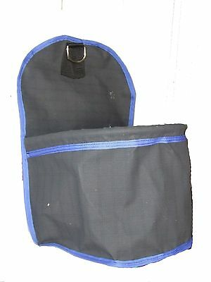 Ecotak Canvas Portable Feed Bag/bucket - Black with royal blue trim