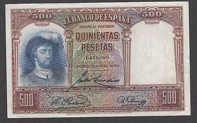 500 Pesetas From Spain 1931 A1 xf+