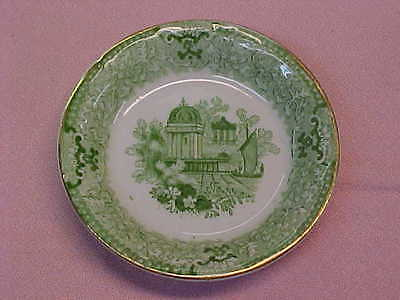 "Antique England Green & White Butter Pat 3 1/4"" Wide  #86"