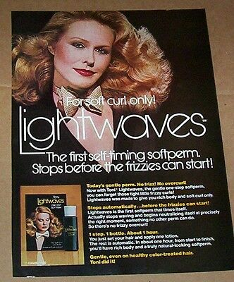 1980 print ad - Toni Lightwaves hair perm curls sexy girl Gillette vintage PAGE