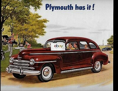Plymouth 4 Door Sedan In Burgundy For 1947 Has It-No Low Priced Car Does Ad