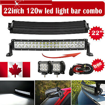 22inch 120W Curved LED Light Bar Jeep 4WD +2X 4'' 18W CREE SPOT Offroad Lamp OFF