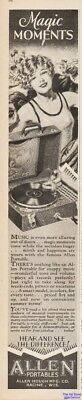 1928 Allen Hough Portable Record Player Ad Racine WI Magic Moment Young Girl Art