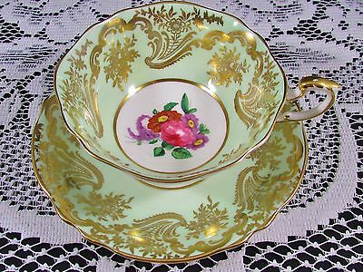 Paragon Pale Green Ornate Gold Gilt Rose Floral Tea Cup And Saucer