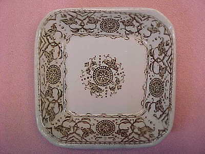 "Antique Meakin Creswell Square Brown Transferware Butter Pat 2 3/4"" Wide  #94"