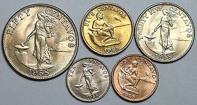 1958 PHILIPPINES CH BU Type Set 5 coins 1c to 50c US Period Designs (17040722R)
