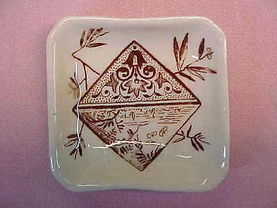 "Antique Square Brown Transferware Butter Pat 2 1/2"" Wide  #95"