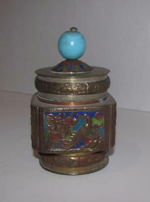 Vintage 1930's Chinese China Brass Enameled Covered Container Jar Box