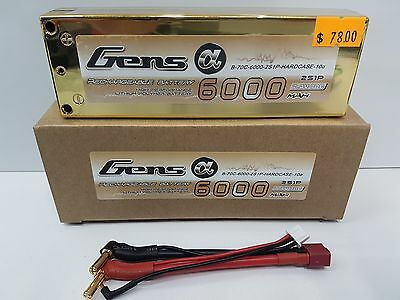 Gens Ace 2S 7.4V 6000 70c Hard Case Gold Edition LIPO Battery Pack OZRC