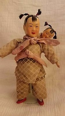 CUTE VINTAGE JAPANESE oriental COMPOSITION DOLL MOTHER CARRYING CHILD