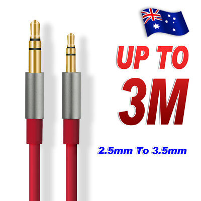 2.5mm Male 3Pole to 3.5mm Male Record Car AUX Audio Cord Headphone Connect Cable
