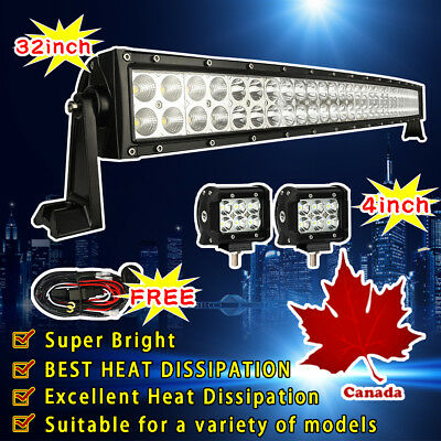 "32Inch 180W Combo Curved Led Work Light Bar 30""+2X4"" 18W CREE Led Pods Jeep SUV"