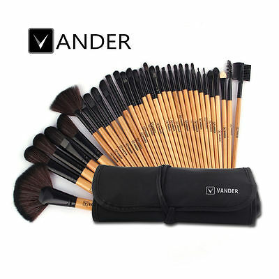 Professional 32pcs Cosmetic Eyebrow Lip Shadow Makeup Brush Set Kit & Pouch Bag