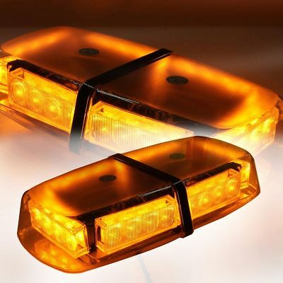 12V Amber Recovery Emergency Led Flashing Strobe Light Bar Magnetic Beacon Lamp