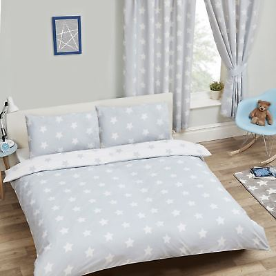 White And Grey Stars Double Duvet Cover Set Kids Childrens Reversible Bedding