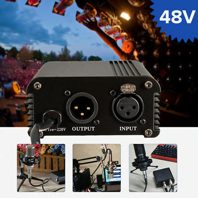 110V-220V 48V Phantom Power Supply For Condenser Recording Microphone US Plug