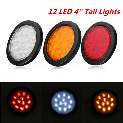 12 LED 4'' Round Truck Trailer Brake Stop Turn Rear Tail Lights Waterproof