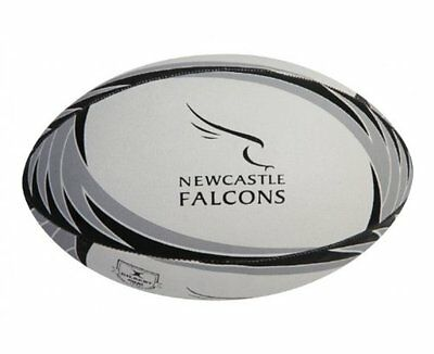 Gilbert Newcastle Falcon Supporter White Black Grey Rugby Ball Size 5