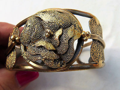 Antique Islamic Ottoman Turkish ?  Gilt Silver  Cuff Bracelet,