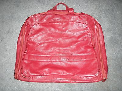 Roomy Genuine Leather Red Suit Bag - VGC