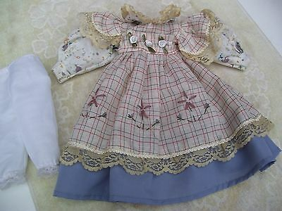 Alte Puppenkleidung FloweryDecorated Dress Outfit vintage Doll clothes 40cm Girl