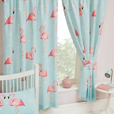 """FIFI FLAMINGO BLUE TURQUOISE CURTAINS LINED 66"""" x 72"""" KIDS GIRLS BEDROOM"""