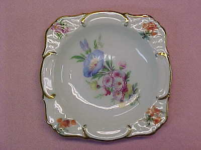 "Vintage Germany Bouquet Flowers Gold Trim Butter Pat 3 1/4"" Wide  #104"