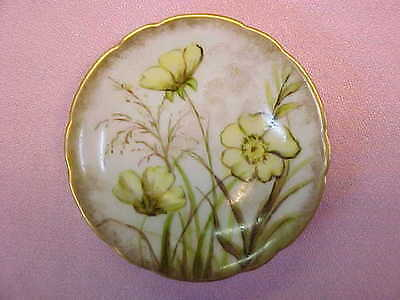 "Antique Hand Painted Yellow Flowers Butter Pat 2 3/4"" Wide  #107"