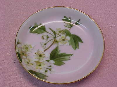 "Antique 1882 Hand Painted Pink with White Flowers Butter Pat 2 5/8"" Wide  #108"