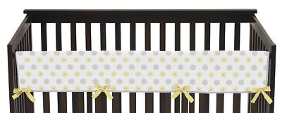 Yellow & Gray Flower Garden Front Rail Guard Crib Cover Baby Teething Protector