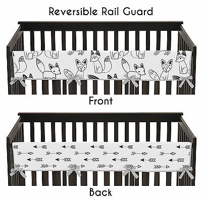 Black & White Fox Collection Front Rail Guard Crib Cover Baby Teething Protector