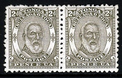 TONGA 1892 King George I Two Pence Olive A PAIR SG 11 MNH