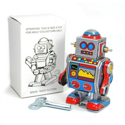 """TIN TOY ROBOT 3"""" Collectible Wind Up Cute Tiny Small Mini D Walking Retro Style"""