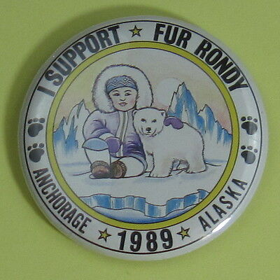 1989 I Support Fur Rendezvous Anchorage Alaska Trapping Pin Button...Free Ship!