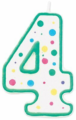 Wilton Green Polka Dots Number 4 Age Candle Children Birthday Party Decoration
