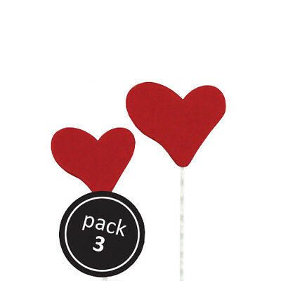 PME Red Heart on Plastic Wire Cake Icing Sugarcraft Sugar Decoration 3 Pack