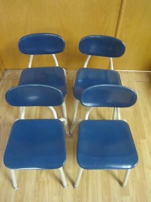Lot of 4 VINTAGE MELSUR TEAL BLUE MID CENTURY SCHOOL CHAIRS EAMES CHILDREN'S Kid
